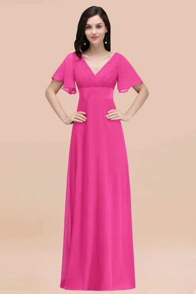 Simple A-Line Chiffon V-Neck Short-Sleeves Ruffles Floor-Length Bridesmaid Dresses_9