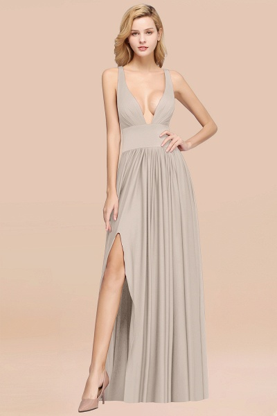BM0141 A-Line V-Neck Sleeveless Long Ruffles Bridesmaid Dress_26