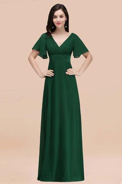 Simple A-Line Chiffon V-Neck Short-Sleeves Ruffles Floor-Length Bridesmaid Dresses_31