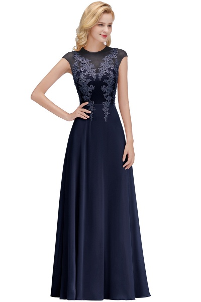 Lace Appliques Beads Cap Sleeve A-line Evening Prom Dress_3