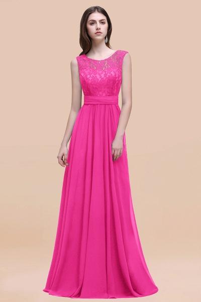 Elegant A-line Chiffon Lace Scoop Sleeveless Floor-Length Bridesmaid Dress_9