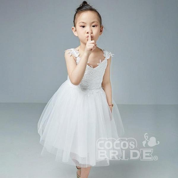 Beige V-Neck Sleeveless Ball Gown Flower Girls Dress_2