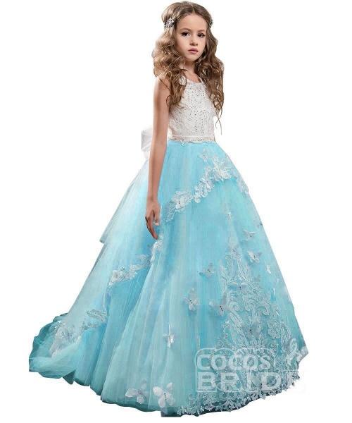 White Scoop Neck Sleeveless Ball Gown Flower Girls Dress_14