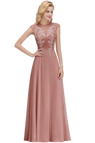 Lace Appliques Beads Cap Sleeve A-line Evening Prom Dress_1