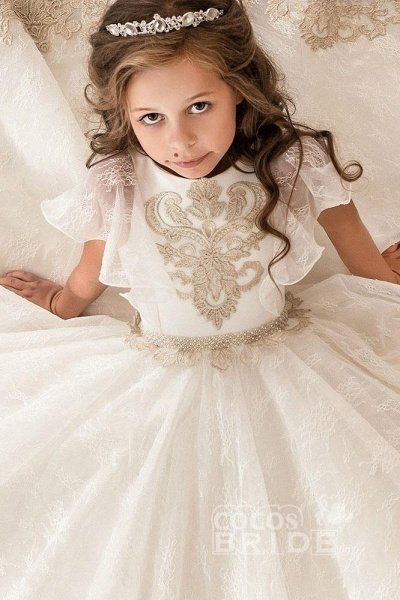 Scoop Neck Short Sleeves Ball Gown Flower Girls Dress_2
