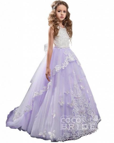 White Scoop Neck Sleeveless Ball Gown Flower Girls Dress_9