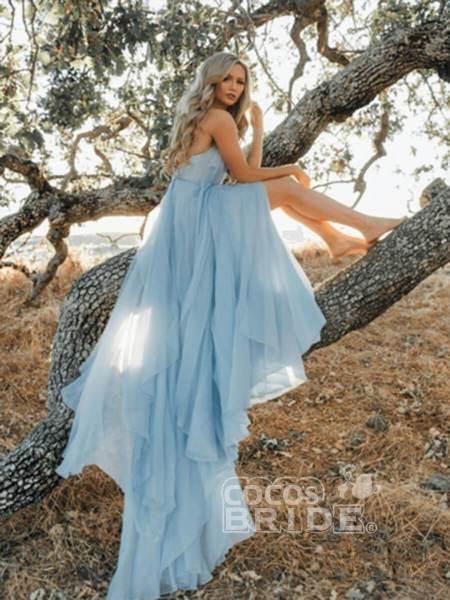 A-line Ruffles Sky Blue Rustic Wedding Dresses Beach Wedding Gown_9