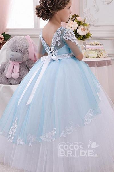 Scoop Neck 1/2 Sleeve Ball Gown Flower Girls Dress_3
