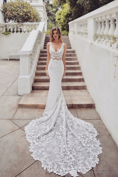 SD1950 Gorgeous Mermaid V-neck Lace Wedding Dress