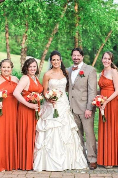 Simple Convertible Long Orange Bridesmaid Dresses | Multiway Infinity Dress