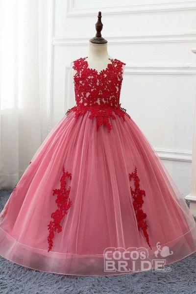 Red V-Neck Sleeveless Ball Gown Flower Girls Dress_5