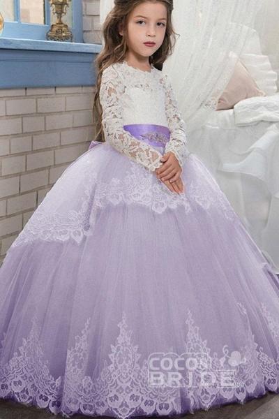 Purple Scoop Neck Long Sleeves Ball Gown Flower Girls Dress_7