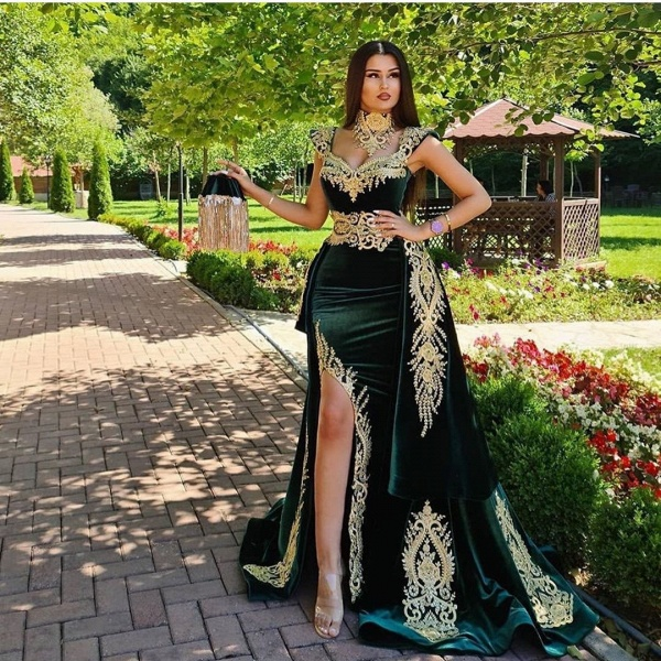 Long Mermaid Dark Green Evening Dresses with Gold Lace appliques_3