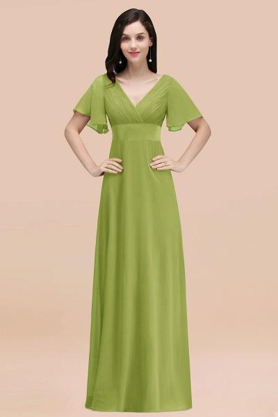 Simple A-Line Chiffon V-Neck Short-Sleeves Ruffles Floor-Length Bridesmaid Dresses_34