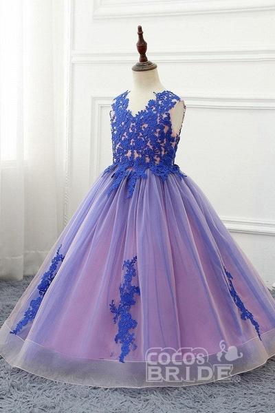 Red V-Neck Sleeveless Ball Gown Flower Girls Dress_2