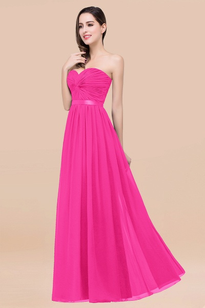 Elegant A-Line Chiffon Sweetheart Sleeveless Floor-Length Bridesmaid Dress with Ribbon_9