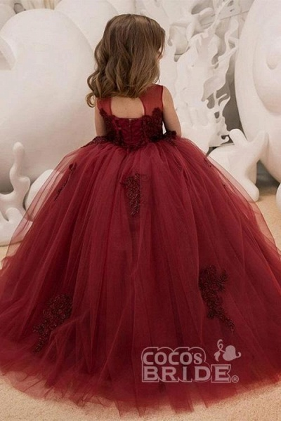 Burgundy Scoop Neck Sleeveless Ball Gown Flower Girls Dress_3