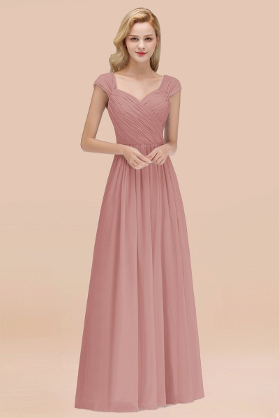 A-Line Chiffon Straps Sweetheart Sleeveless Floor-Length Bridesmaid Dress with Ruffles_50