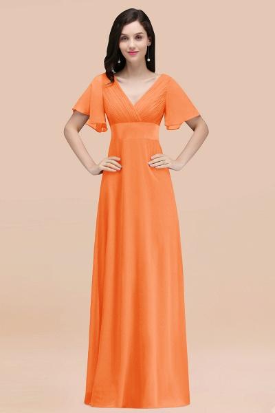 Simple A-Line Chiffon V-Neck Short-Sleeves Ruffles Floor-Length Bridesmaid Dresses_15