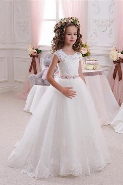 White Scoop Neck Short Sleeves Ball Gown Flower Girls Dress
