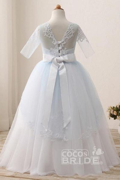 Scoop Neck 1/2 Sleeve Ball Gown Flower Girls Dress_5