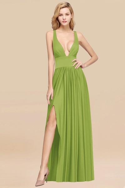BM0141 A-Line V-Neck Sleeveless Long Ruffles Bridesmaid Dress_29