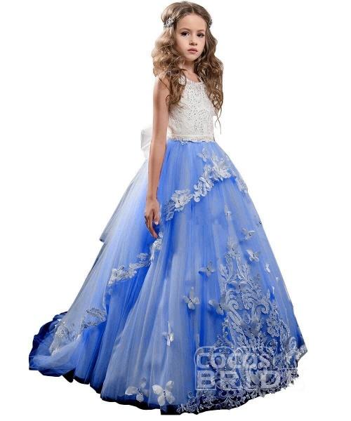 White Scoop Neck Sleeveless Ball Gown Flower Girls Dress_10