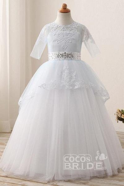 Scoop Neck 1/2 Sleeve Ball Gown Flower Girls Dress_4