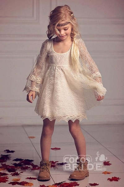 Ivory Scoop Neck Long Sleeves A-Line Flower Girls Dress_2