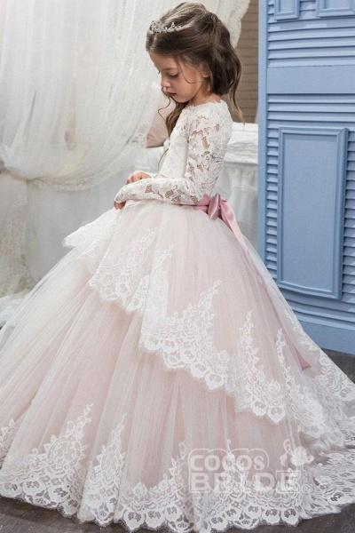 Purple Scoop Neck Long Sleeves Ball Gown Flower Girls Dress_4