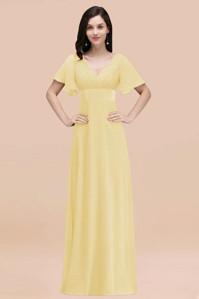 Simple A-Line Chiffon V-Neck Short-Sleeves Ruffles Floor-Length Bridesmaid Dresses_18