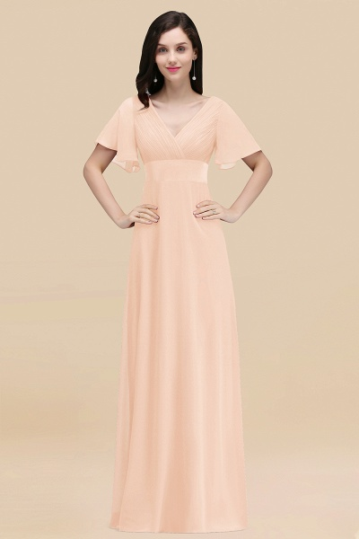 Simple A-Line Chiffon V-Neck Short-Sleeves Ruffles Floor-Length Bridesmaid Dresses_5