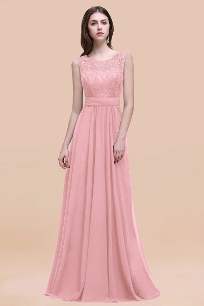 Elegant A-line Chiffon Lace Scoop Sleeveless Floor-Length Bridesmaid Dress_4
