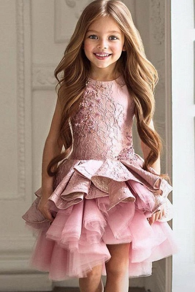 Pink Scoop Neck Sleeveless Ball Gown Flower Girls Dress