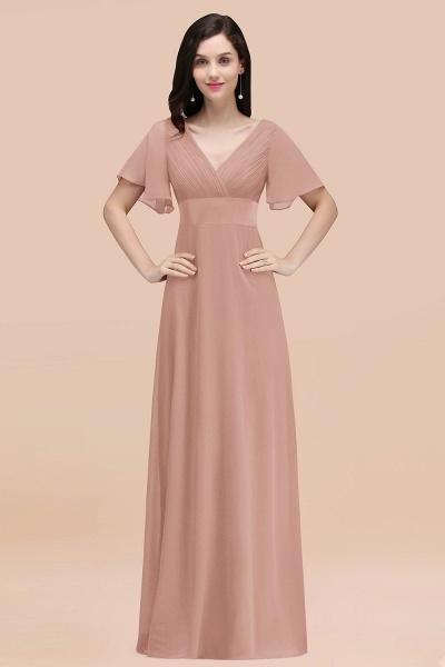 Simple A-Line Chiffon V-Neck Short-Sleeves Ruffles Floor-Length Bridesmaid Dresses_6