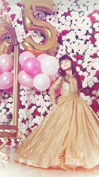Golden Scoop Neck Long Sleeves Princess Dress_3