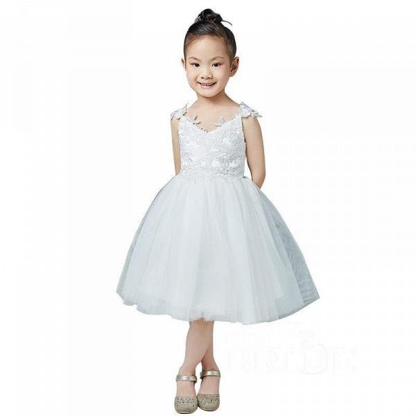 Beige V-Neck Sleeveless Ball Gown Flower Girls Dress_6