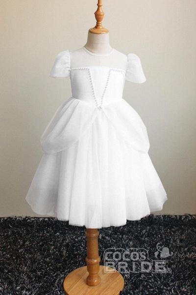 Light Blue Scoop Neck Short Sleeves Ball Gown Dress_5