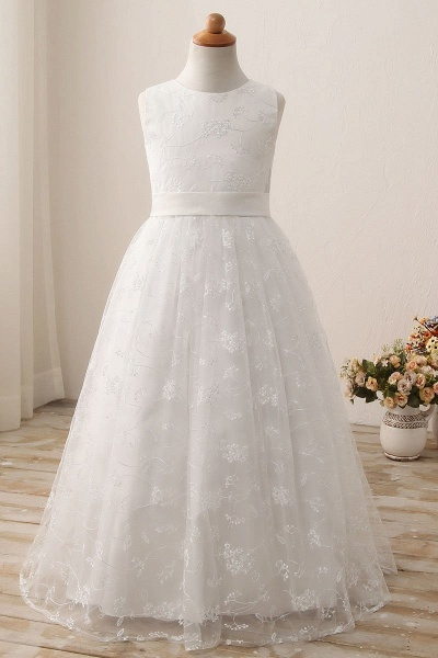 White Scoop Neck Short Sleeveless Ball Gown Flower Girls Dress