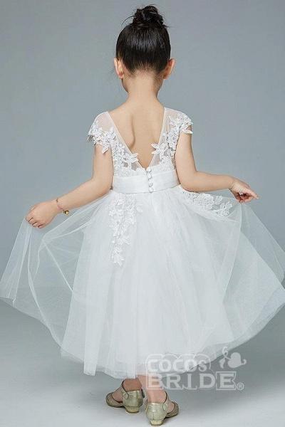 Beige Scoop Neck Short Sleeves Ball Gown Flower Girls Dress_4