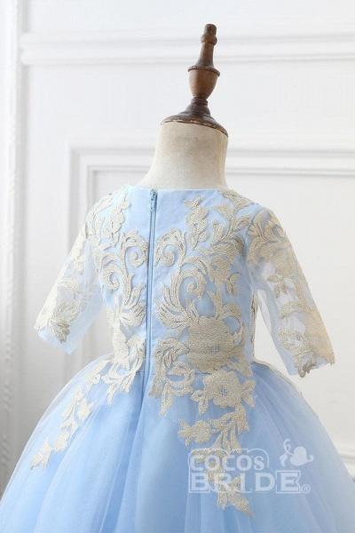Light Blue Scoop Neck 1/2 Sleeves Ball Gown Flower Girls Dress_3