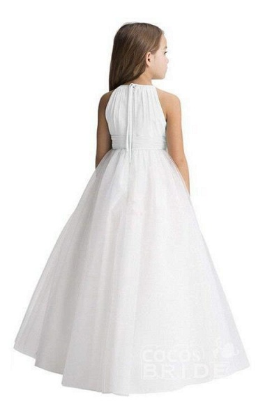 Ivory Scoop Neck Sleeveless Ball Gown Flower Girls Dress_2