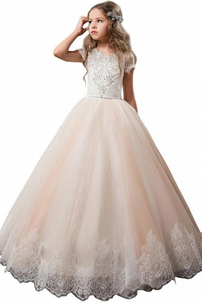 Light Pink Scoop Neck Short Sleeve Ball Gown Flower Girls Dress_1