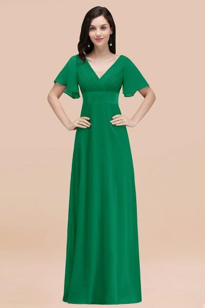 Simple A-Line Chiffon V-Neck Short-Sleeves Ruffles Floor-Length Bridesmaid Dresses_49