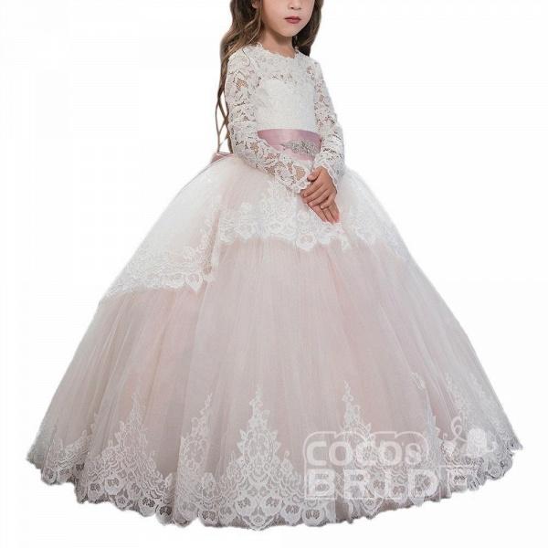 Purple Scoop Neck Long Sleeves Ball Gown Flower Girls Dress_5