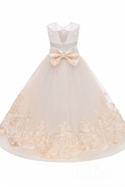 Beige Scoop Neck Sleeveless Ball Gown Flower Girls Dress_5