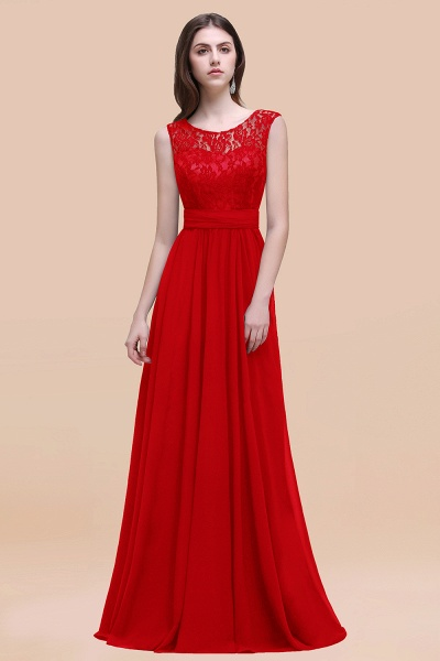 Elegant A-line Chiffon Lace Scoop Sleeveless Floor-Length Bridesmaid Dress_8
