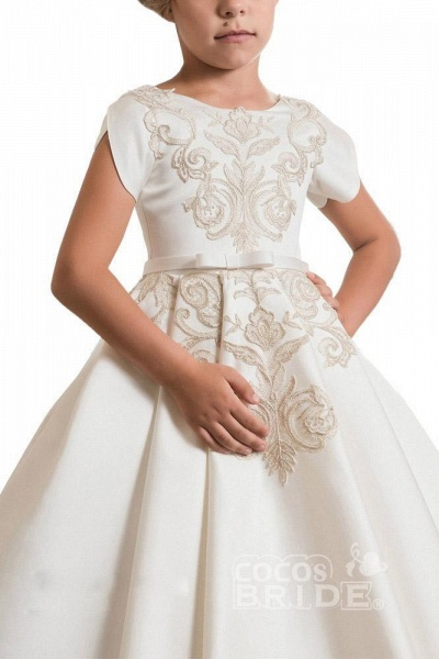 Scoop Neck Short Sleeves Ball Gown Flower Girls Dress_4