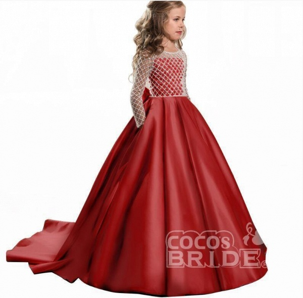 White Scoop Neck Long Sleeves Ball Gown Flower Girls Dress_4