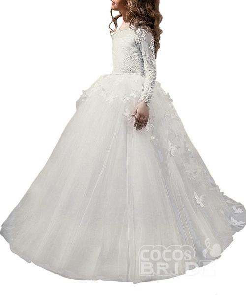 White Scoop Neck Long Sleeves Ball Gown Flower Girls Dress_7